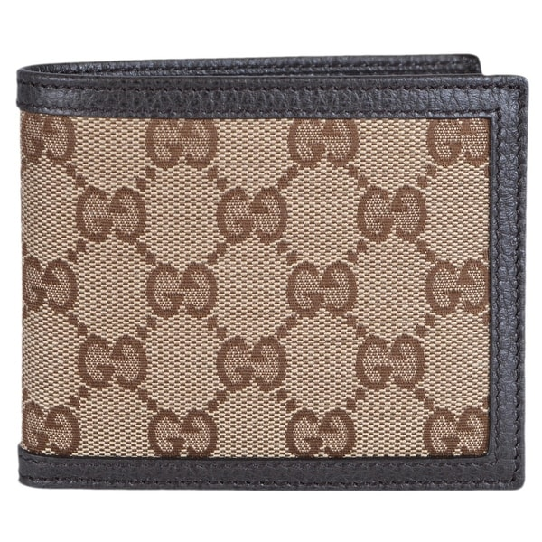 Gucci Men's 260987 Beige Canvas GG Guccissima Bifold Wallet - ebony beige