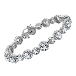 Tennis Bracelet with Swarovski Zirconia in Sterling Silver - White