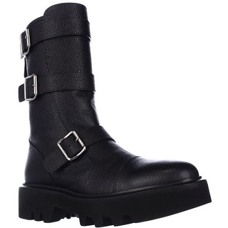 Kalliste 5110 Lug Sole Mid Calf Buckled Combat Boots - Black