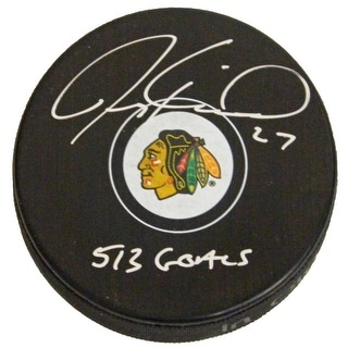 Jeremy Roenick Signed Chicago Blackhawks Logo Hockey Puck w513 Goals