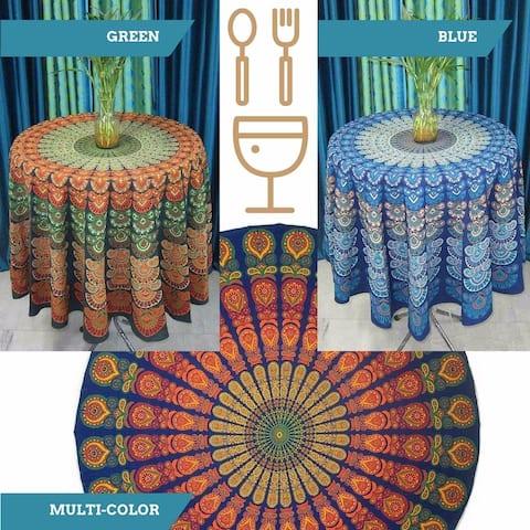 "Handmade Sanganer Peacock Mandala 72"" Round Cotton Tablecloth Gorgeous Blue Green Red"