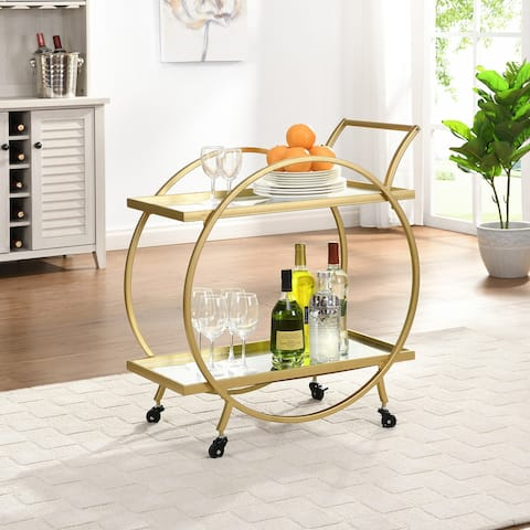 FirsTime & Co.® Gold Odessa Bar Cart, American Crafted, Gold, Metal, 28 x 14 x 32 in - 28 x 14 x 32 in
