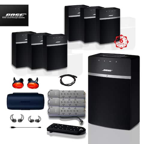 6x Bose SoundTouch 10 (Black) + FREE SoundSports + 4 pc Acc Bundle