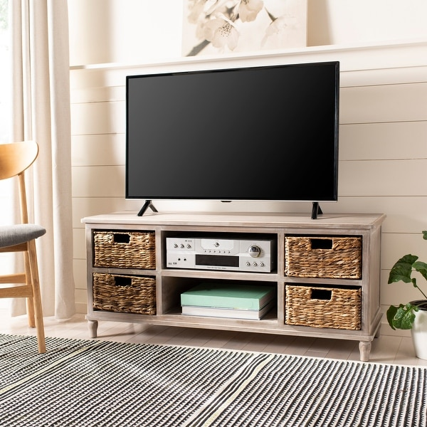 "Safavieh Seaton 4-Drawer Storage 20"" Entertainment Console - 47.2"" x 15.7"" x 20.1"". Opens flyout."