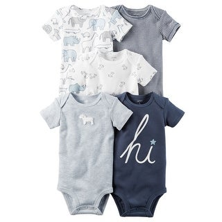 Carter's Baby Boys' 5 Pack Short Sleeve Bodysuits- Navy Hi
