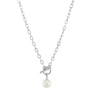 Honora 11-12 mm Freshwater Cultured Ringed Pearl Toggle Necklace in Sterling Silver