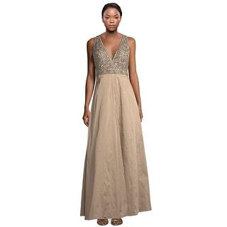 Aidan Mattox Beaded Bodice V-Neck A-Line Taffeta Evening Gown Dress