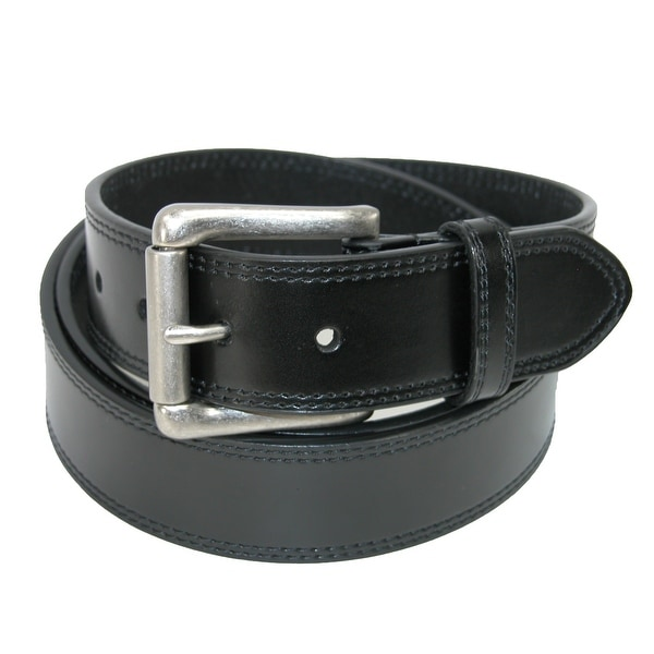 Dickies Men's Leather Cut Edge Belt with Roller Buckle