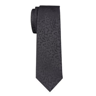 YSL Yves Saint Laurent Tonal Patterned Silk Tie Black Necktie Made In France