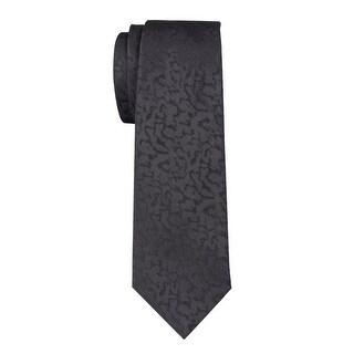 Yves Saint Laurent Mens Tonal Patterned Classic Silk Tie Black Size 7