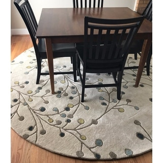 Hand Tufted Floral Wool Area Rug 8 Round Free