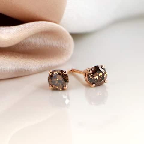 Auriya 1/4 to 2ctw Brown Diamond Stud Earrings 14K Rose Gold