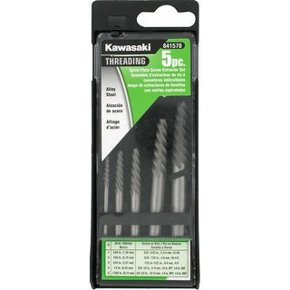 Kawasaki 5 Piece Flute Screw Extractor Set, Threading, #1 to #5