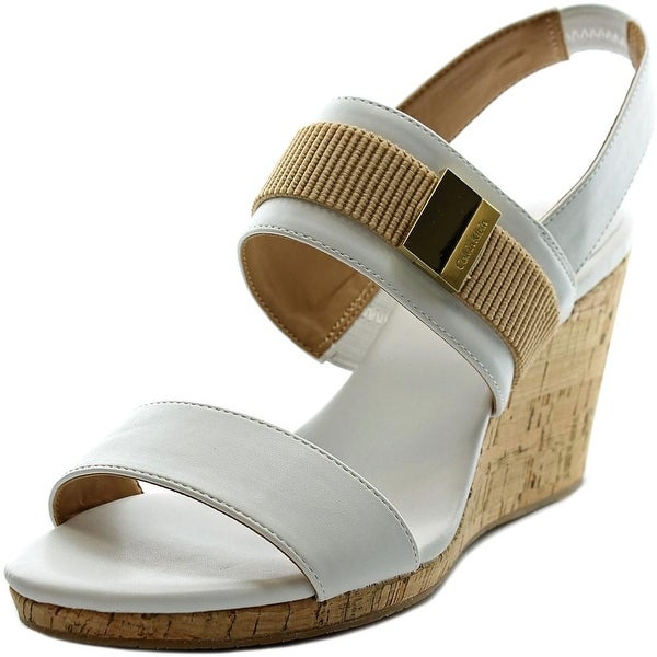 Calvin Klein Brandie Women  Open Toe Synthetic White Wedge Sandal