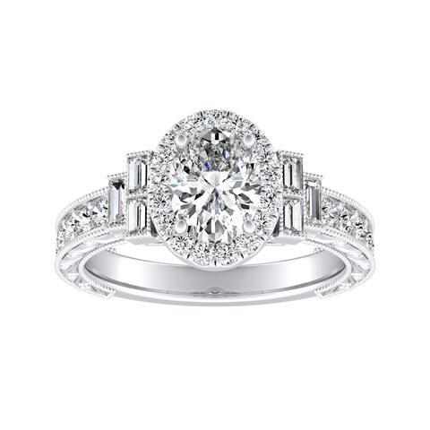 Auriya Platinum Vintage Art Deco Oval-cut Halo Diamond Ring 1 3/8cttw