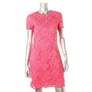 DKNY Womens Lace Short Sleeves Cocktail Dress
