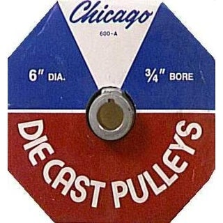 """Chicago Die Casting 600A7 Single V Grooved Pulley, 6"""" x 3/4"""""""