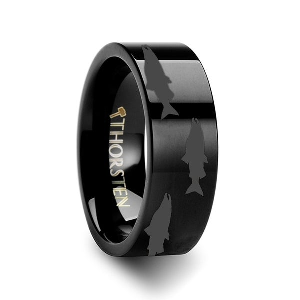 THORSTEN - Salmon Fish Sea Print Pattern Ring Engraved Flat Black Tungsten Ring - 10mm