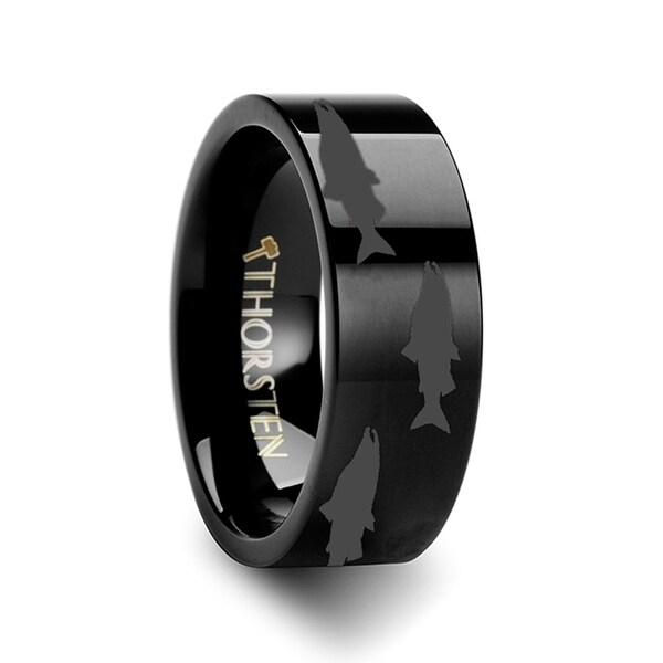 THORSTEN - Salmon Fish Sea Print Pattern Ring Engraved Flat Black Tungsten Ring - 4mm