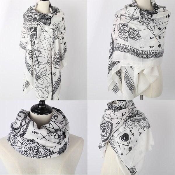 Women Tassel Cotton Scarf With Stylish Son of Suns' Geometry Print - Medium