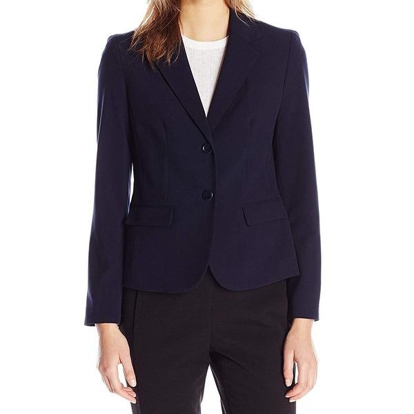 Nine West Womens Blazer Classic Navy Blue Size 4 2 Button Stretch. Opens flyout.