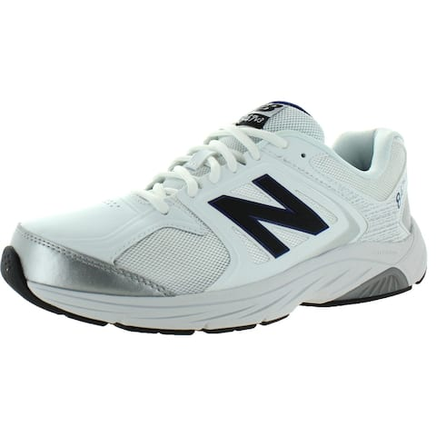 New Balance Mens 847 V3 Walking Shoes Faux Leather Mesh Inset - White/Grey