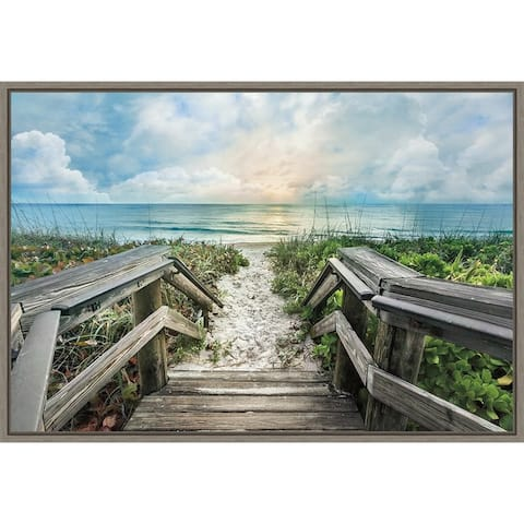 Welcome to the Beach by Celebrate Life Gallery Framed Canvas Art