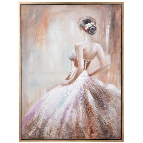 Copper Grove Hand-painted Ballerina Framed Canvas Wall Art