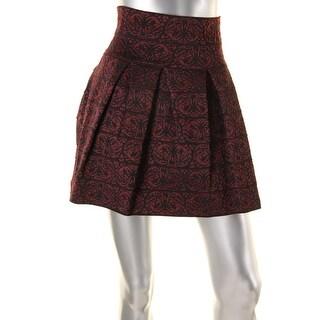 Aqua Womens Pattern Elastic Waist A-Line Skirt - S