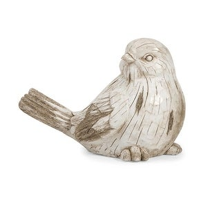 """17.75"""" Rustic White Washed Carved Garden Bird Statue"""