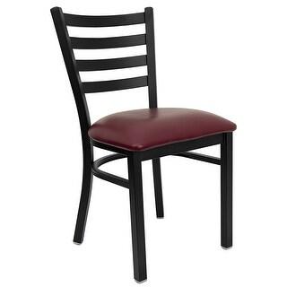 Dyersburg Black Ladder Back Metal Restaurant/Pub/Bar Chair, Burgundy Vinyl Seat