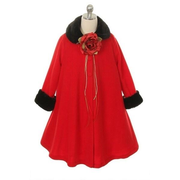 Kids Dream Red Fleece Faux Fur Collar Cuff Stylish Coat Girls 2T