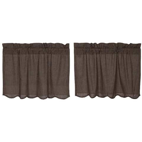Primitive Kitchen Curtains Kettle Grove Plaid Tier Pair Rod Pocket