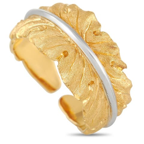 Buccellati Yellow and White Gold Leaf Band Ring Size 5