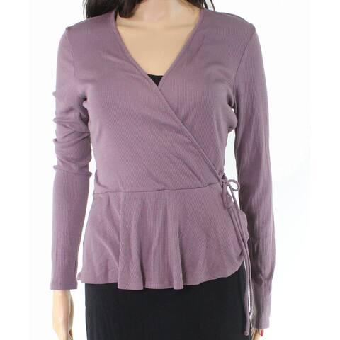 Soprano Women's Top Blouse Purple Size Large L Knit Faux-Wrap Surplice