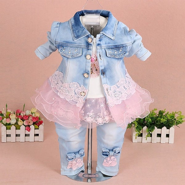 YAO Baby Girls 3 Pieces Clothing Sets Denim Jacket Shirt and Jeans