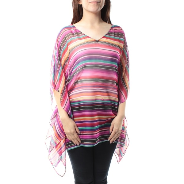 cc2cde415dc2 Shop Ralph Lauren Womens Purple Striped Dolman Sleeve V Neck PONCHO Top  Size: S - On Sale - Free Shipping On Orders Over $45 - Overstock - 21313240