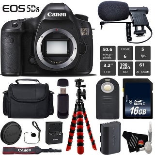 Canon EOS 5DS DSLR Camera (Body Only) + Wireless Remote + Condenser Microphone + Case + Tripod Bundle - Intl Model