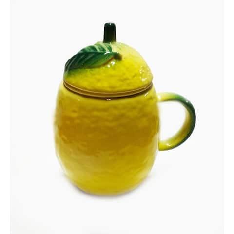 STP Goods Lemon 16.9-Ounce Ceramic Mug with Tea Infuser, Lid and Saucer Set