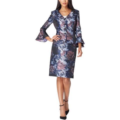Tahari Womens Floral Portrait Skirt Suit, Blue, 16