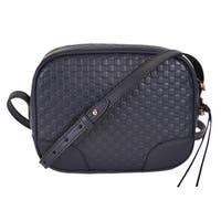 "Gucci 449413 Navy Blue Leather Micro GG Guccissima Bree Crossbody Purse Bag - Midnight Blue - 8.5"" x 7"" x 4"""