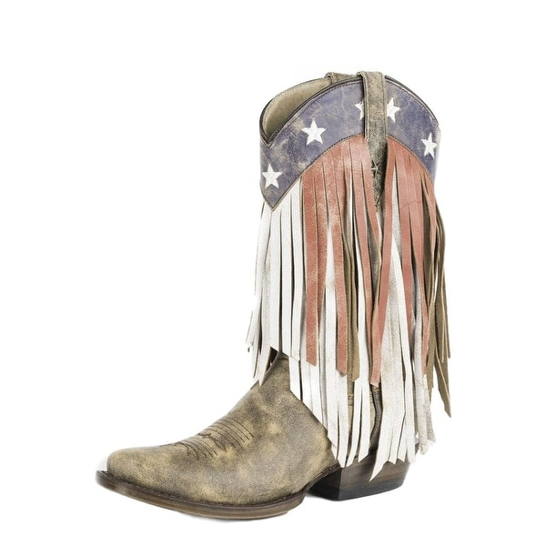 Roper Western Boot Womens Americana Fringe Brown