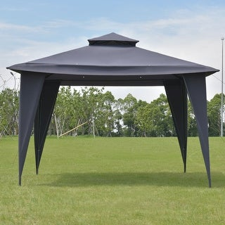 Costway 2-Tire 11'x11' Gazebo Canopy Shelter Awning Tent Steel Frame Patio Garden Gray