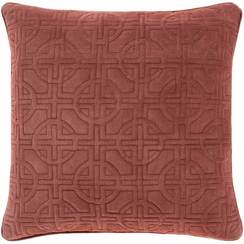 Quinby Quilted Medallion Solid Velvet Throw Pillow