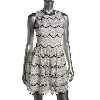 Aqua Womens Lace Scalloped Tank Dress - M