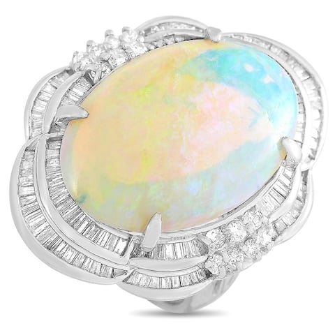 Platinum 1.09 ct Diamond and Opal Ring Size 6.25