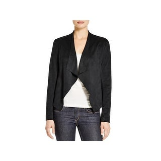 Alison Andrews Womens Lincoln Open-Front Blazer Draped Front Faux Suede