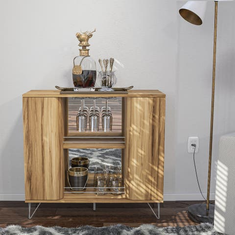 Boahaus Dublin Bar Cabinet, Brown, 02 Shelves, 02 doors, Wine Rack
