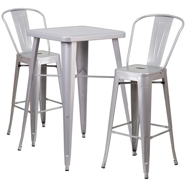 Brimmes 3pcs Square 23.75'' Silver Metal Table w/2 Barstool