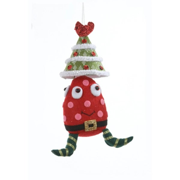 "7.5"" Ugly Cuties Alien ""Joey"" with Red Tree Hat Plush Animal Christmas Ornament"
